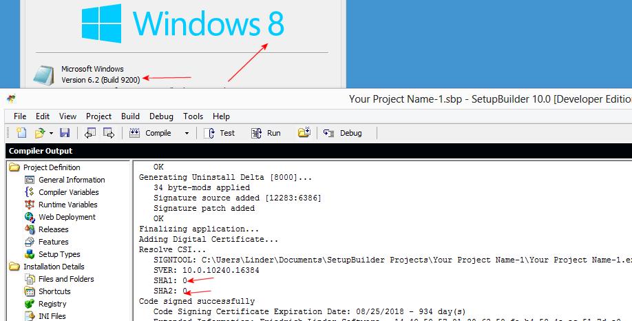 Dual SHA-1/SHA-2 code-signing on legacy Windows operating